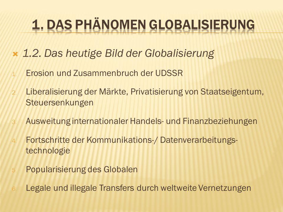 1.2. Das heutige Bild der Globalisierung 1. Erosion und Zusammenbruch der UDSSR 2. Liberalisierung der Märkte, Privatisierung von Staatseigentum, Steu