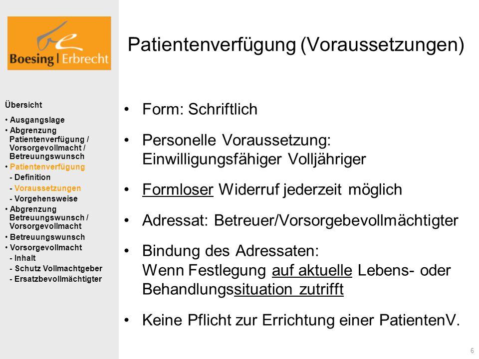 6 Patientenverfügung (Voraussetzungen) Form: Schriftlich Personelle Voraussetzung: Einwilligungsfähiger Volljähriger Formloser Widerruf jederzeit mögl