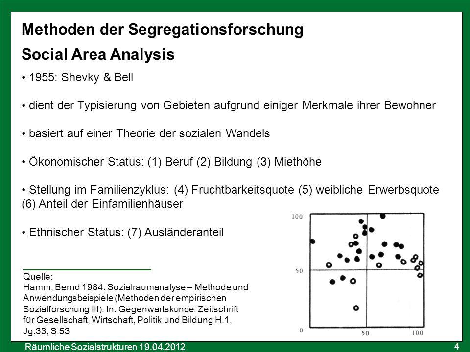 Räumliche Sozialstrukturen 19.04.2012 4 Methoden der Segregationsforschung Social Area Analysis 1955: Shevky & Bell dient der Typisierung von Gebieten