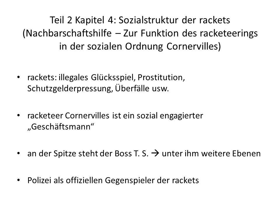 Teil 2 Kapitel 4: Sozialstruktur der rackets (Nachbarschaftshilfe – Zur Funktion des racketeerings in der sozialen Ordnung Cornervilles) rackets: ille