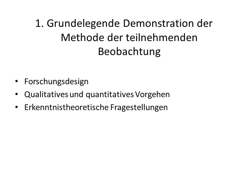 1. Grundelegende Demonstration der Methode der teilnehmenden Beobachtung Forschungsdesign Qualitatives und quantitatives Vorgehen Erkenntnistheoretisc