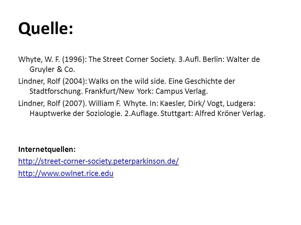 Quelle: Whyte, W. F. (1996): The Street Corner Society. 3.Aufl. Berlin: Walter de Gruyler & Co. Lindner, Rolf (2004): Walks on the wild side. Eine Ges