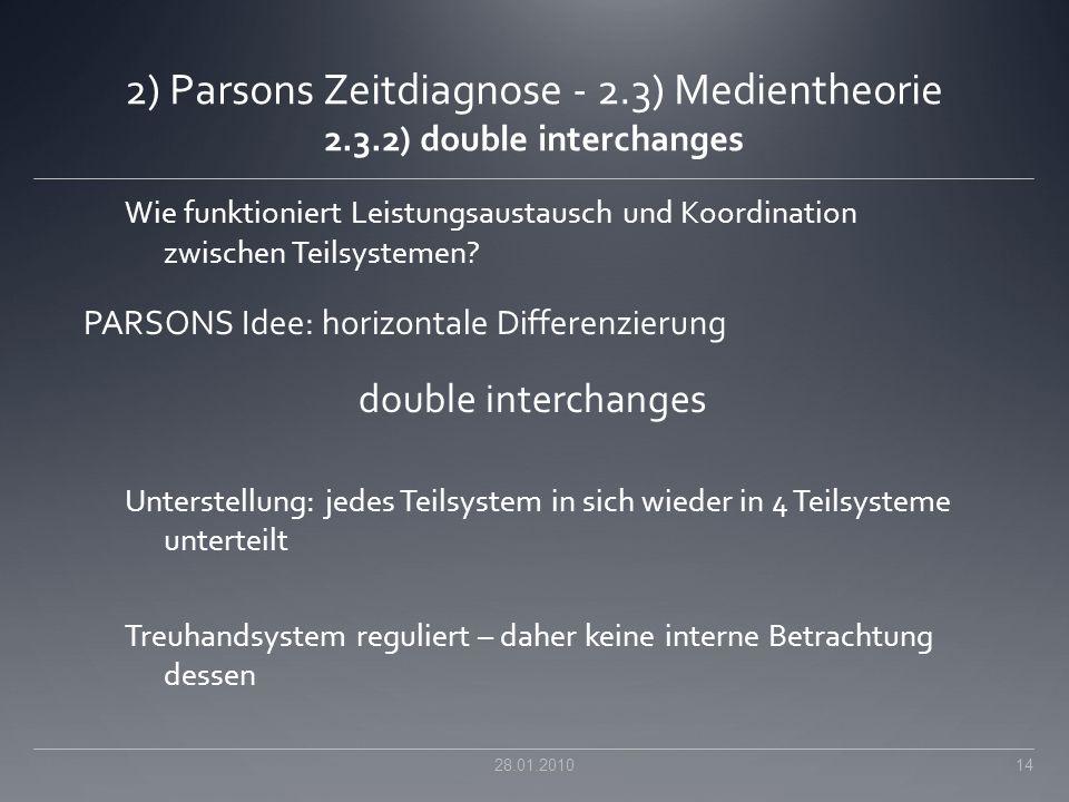 2) Parsons Zeitdiagnose - 2.3) Medientheorie 2.3.2) double interchanges Wie funktioniert Leistungsaustausch und Koordination zwischen Teilsystemen? PA