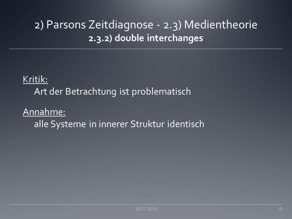 2) Parsons Zeitdiagnose - 2.3) Medientheorie 2.3.2) double interchanges Kritik: Art der Betrachtung ist problematisch Annahme: alle Systeme in innerer