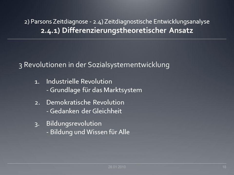 2) Parsons Zeitdiagnose - 2.4) Zeitdiagnostische Entwicklungsanalyse 2.4.1) Differenzierungstheoretischer Ansatz 3 Revolutionen in der Sozialsystement