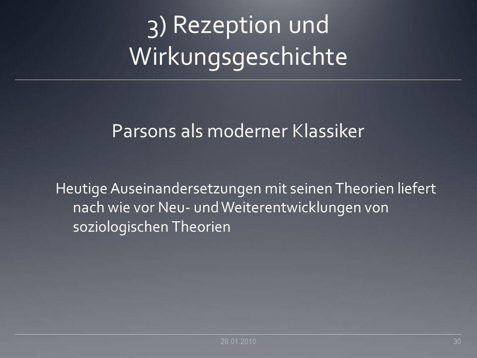 3) Rezeption und Wirkungsgeschichte Parsons als moderner Klassiker Heutige Auseinandersetzungen mit seinen Theorien liefert nach wie vor Neu- und Weit