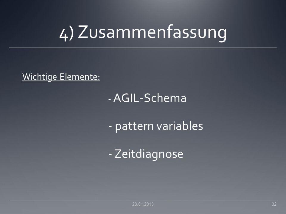 4) Zusammenfassung Wichtige Elemente: - AGIL-Schema - pattern variables - Zeitdiagnose 28.01.201032