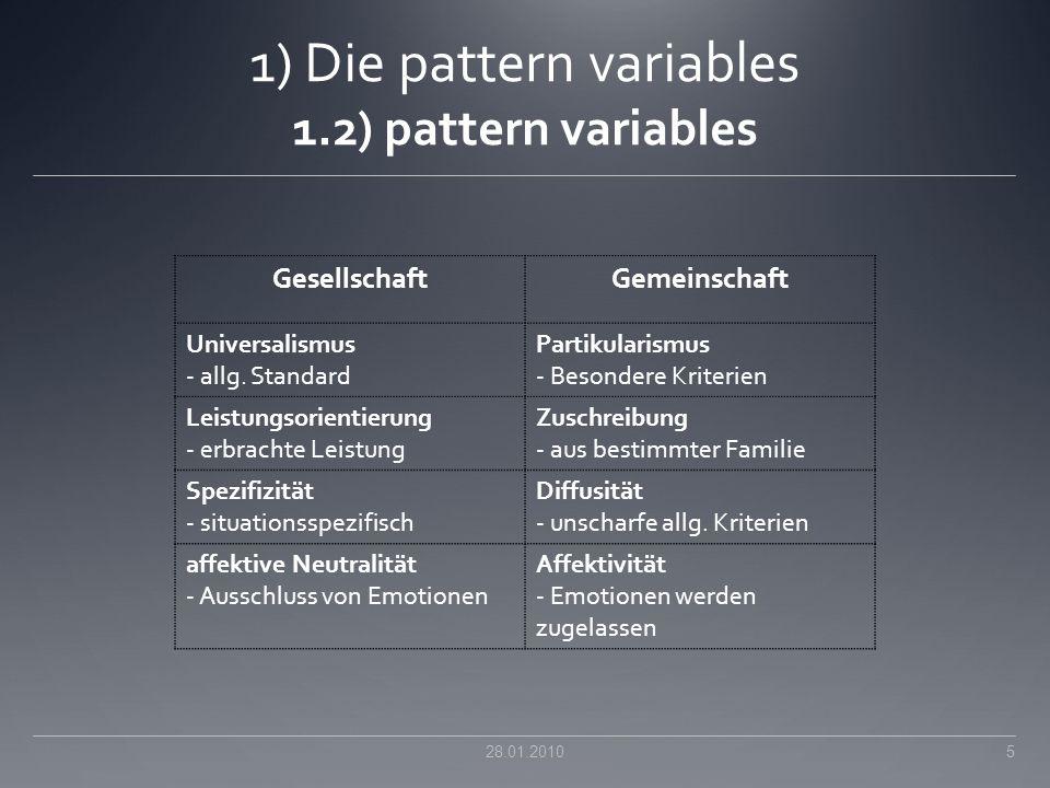 1) Die pattern variables 1.2) pattern variables 28.01.2010 5 GesellschaftGemeinschaft Universalismus - allg. Standard Partikularismus - Besondere Krit