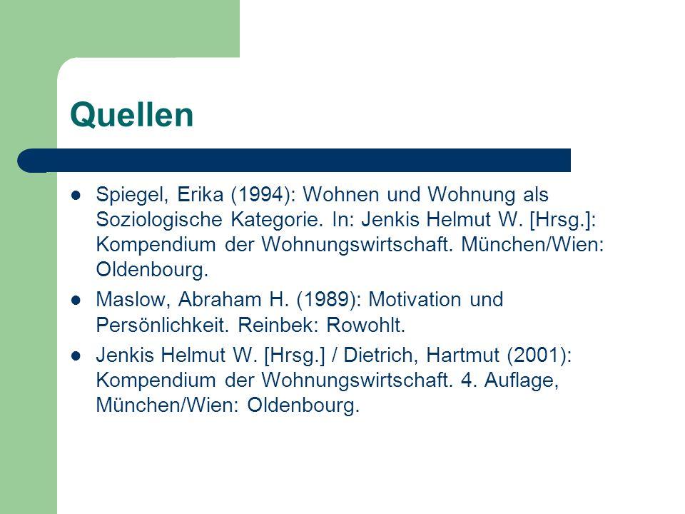 Quellen Spiegel, Erika (1994): Wohnen und Wohnung als Soziologische Kategorie. In: Jenkis Helmut W. [Hrsg.]: Kompendium der Wohnungswirtschaft. Münche
