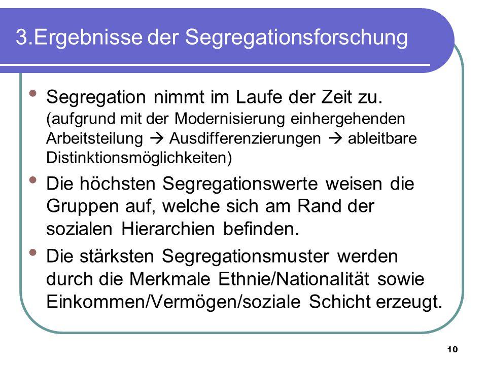 10 3.Ergebnisse der Segregationsforschung Segregation nimmt im Laufe der Zeit zu. (aufgrund mit der Modernisierung einhergehenden Arbeitsteilung Ausdi