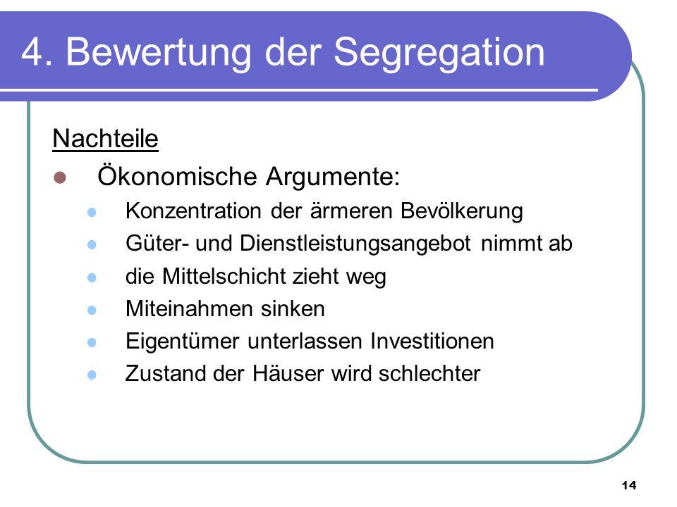 14 4. Bewertung der Segregation Nachteile Ökonomische Argumente: Konzentration der ärmeren Bevölkerung Güter- und Dienstleistungsangebot nimmt ab die