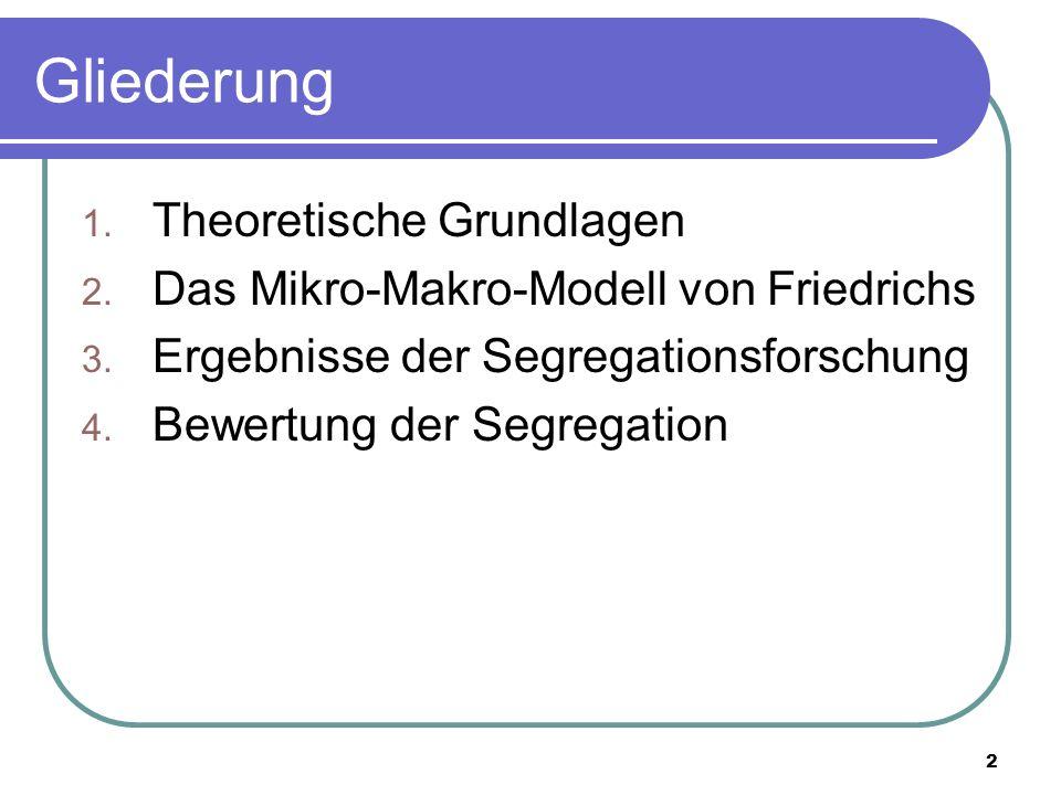 2 Gliederung 1. Theoretische Grundlagen 2. Das Mikro-Makro-Modell von Friedrichs 3. Ergebnisse der Segregationsforschung 4. Bewertung der Segregation