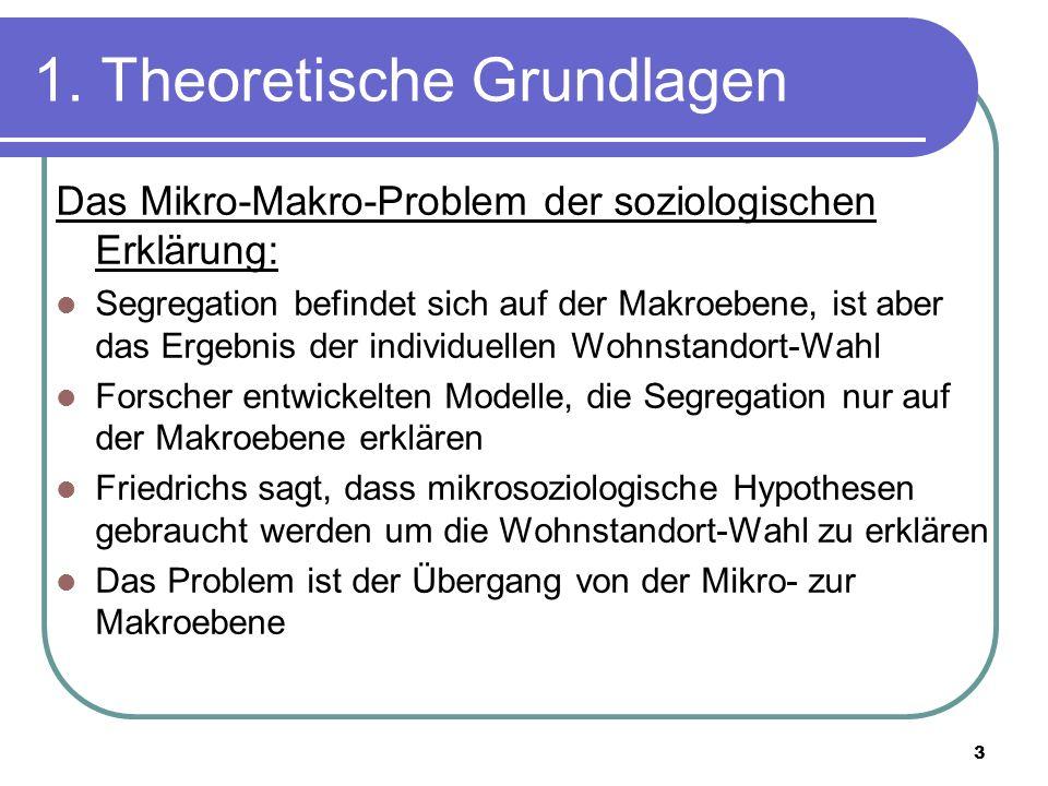 3 1. Theoretische Grundlagen Das Mikro-Makro-Problem der soziologischen Erklärung: Segregation befindet sich auf der Makroebene, ist aber das Ergebnis