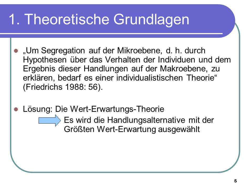 5 1. Theoretische Grundlagen Um Segregation auf der Mikroebene, d. h. durch Hypothesen über das Verhalten der Individuen und dem Ergebnis dieser Handl