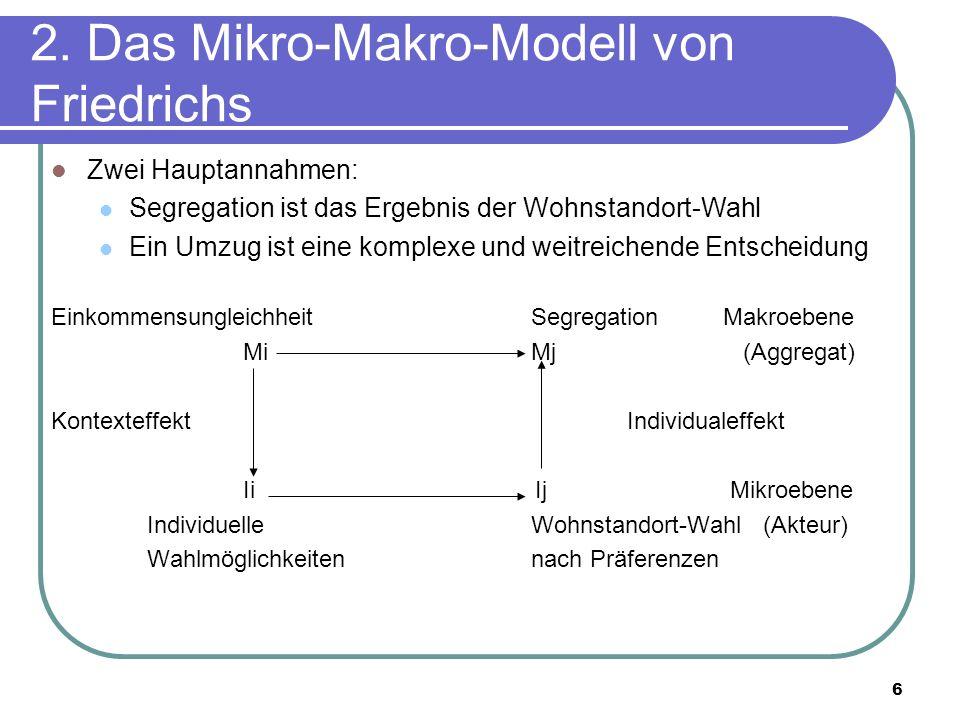 6 2. Das Mikro-Makro-Modell von Friedrichs Zwei Hauptannahmen: Segregation ist das Ergebnis der Wohnstandort-Wahl Ein Umzug ist eine komplexe und weit