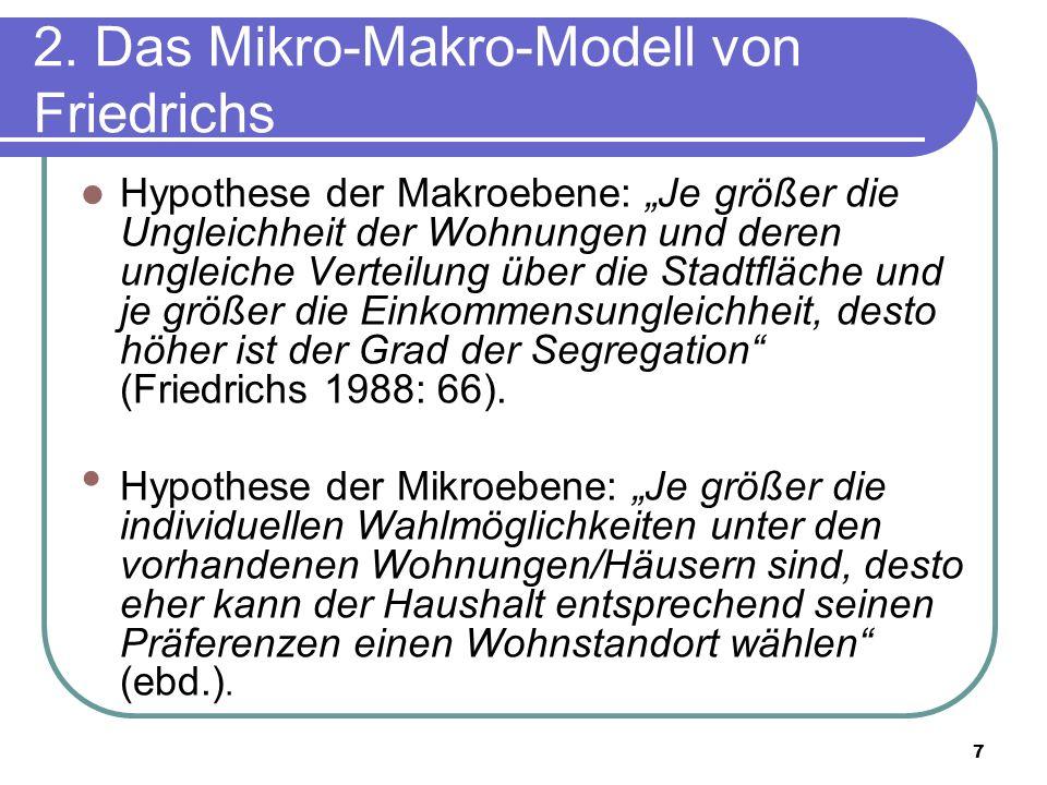 7 2. Das Mikro-Makro-Modell von Friedrichs Hypothese der Makroebene: Je größer die Ungleichheit der Wohnungen und deren ungleiche Verteilung über die
