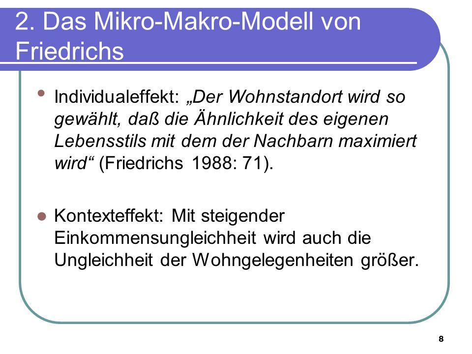8 2. Das Mikro-Makro-Modell von Friedrichs Individualeffekt: Der Wohnstandort wird so gewählt, daß die Ähnlichkeit des eigenen Lebensstils mit dem der