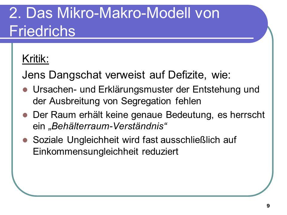 9 2. Das Mikro-Makro-Modell von Friedrichs Kritik: Jens Dangschat verweist auf Defizite, wie: Ursachen- und Erklärungsmuster der Entstehung und der Au