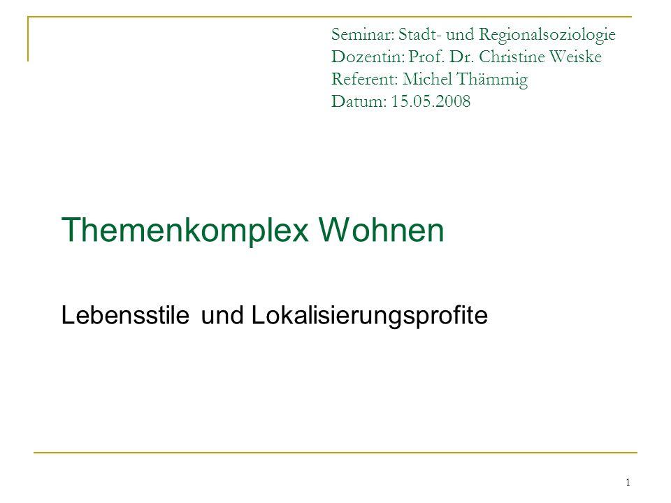 1 Seminar: Stadt- und Regionalsoziologie Dozentin: Prof. Dr. Christine Weiske Referent: Michel Thämmig Datum: 15.05.2008 Themenkomplex Wohnen Lebensst