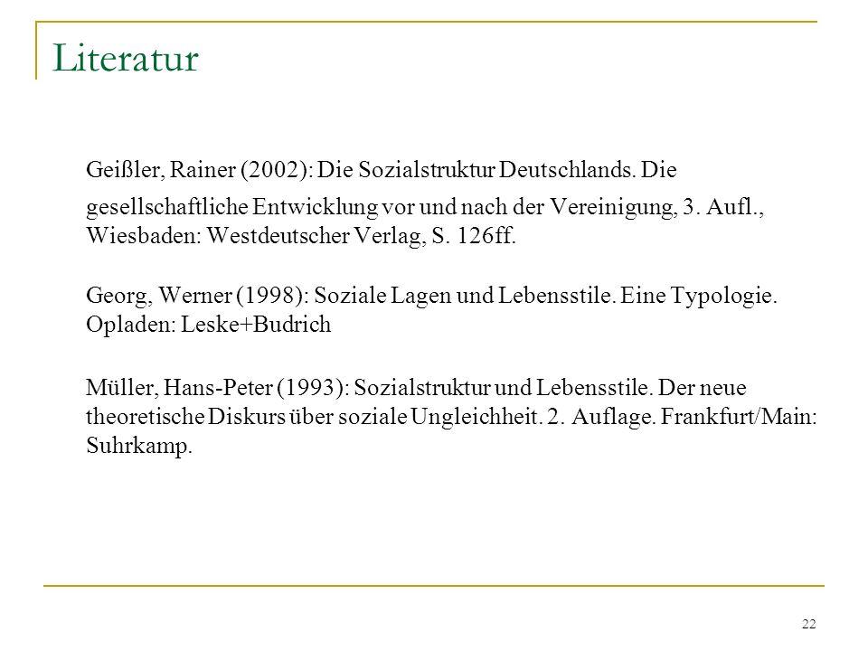 22 Literatur Geißler, Rainer (2002): Die Sozialstruktur Deutschlands. Die gesellschaftliche Entwicklung vor und nach der Vereinigung, 3. Aufl., Wiesba
