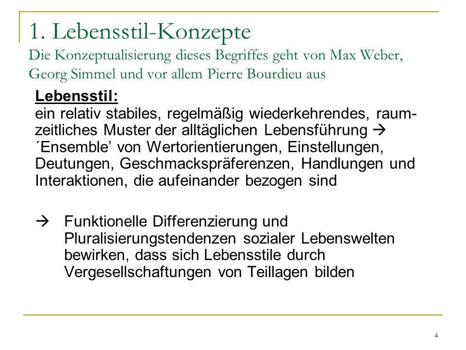 4 1. Lebensstil-Konzepte Die Konzeptualisierung dieses Begriffes geht von Max Weber, Georg Simmel und vor allem Pierre Bourdieu aus Lebensstil: ein re