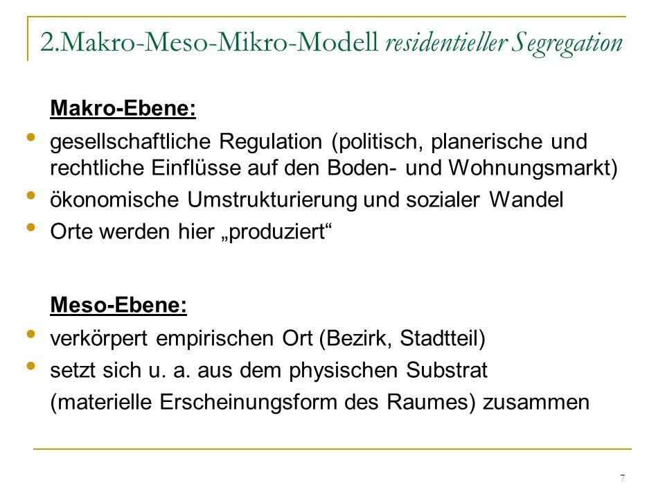 7 2.Makro-Meso-Mikro-Modell residentieller Segregation Makro-Ebene: gesellschaftliche Regulation (politisch, planerische und rechtliche Einflüsse auf