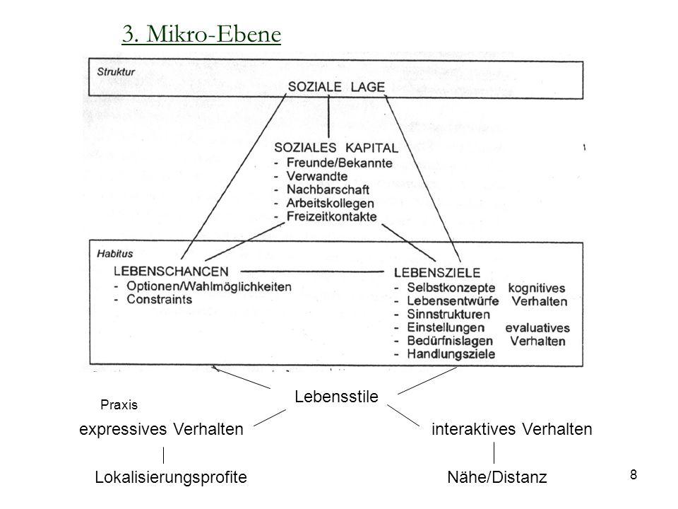 8 Lebensstile expressives Verhalteninteraktives Verhalten LokalisierungsprofiteNähe/Distanz 3. Mikro-Ebene Praxis