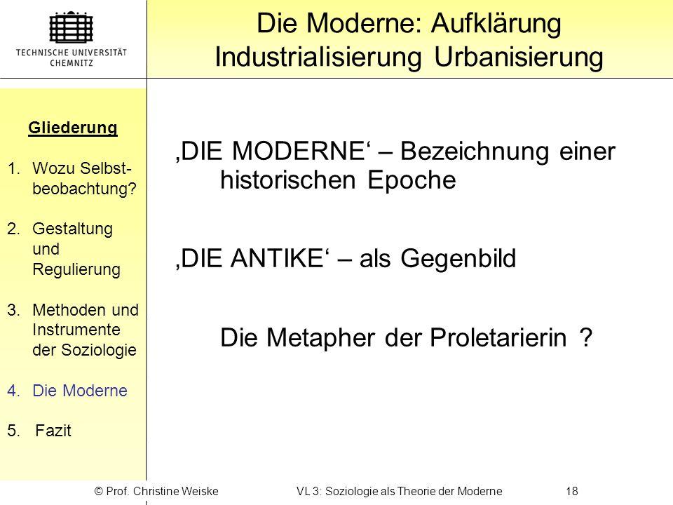 Gliederung 1.Wozu Selbst- beobachtung? 2.Gestaltung und Regulierung 3.Methoden und Instrumente der Soziologie 4.Die Moderne 5. Fazit Gliederung Die Mo