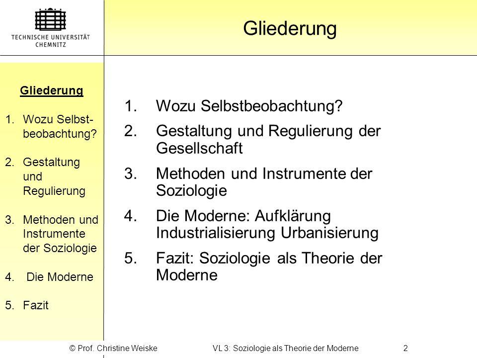 Gliederung 1.Wozu Selbst- beobachtung? 2.Gestaltung und Regulierung 3.Methoden und Instrumente der Soziologie 4. Die Moderne 5. Fazit Gliederung © Pro