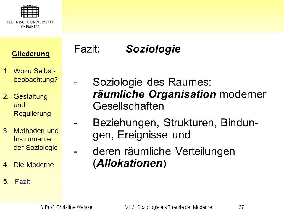 Gliederung 1.Wozu Selbst- beobachtung? 2.Gestaltung und Regulierung 3.Methoden und Instrumente der Soziologie 4.Die Moderne 5. Fazit Gliederung © Prof