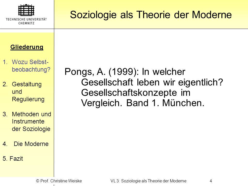 Gliederung 1.Wozu Selbst- beobachtung? 2.Gestaltung und Regulierung 3.Methoden und Instrumente der Soziologie 4. Die Moderne 5. Fazit Gliederung Sozio