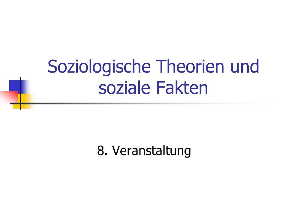 Soziologische Theorien und soziale Fakten 8. Veranstaltung