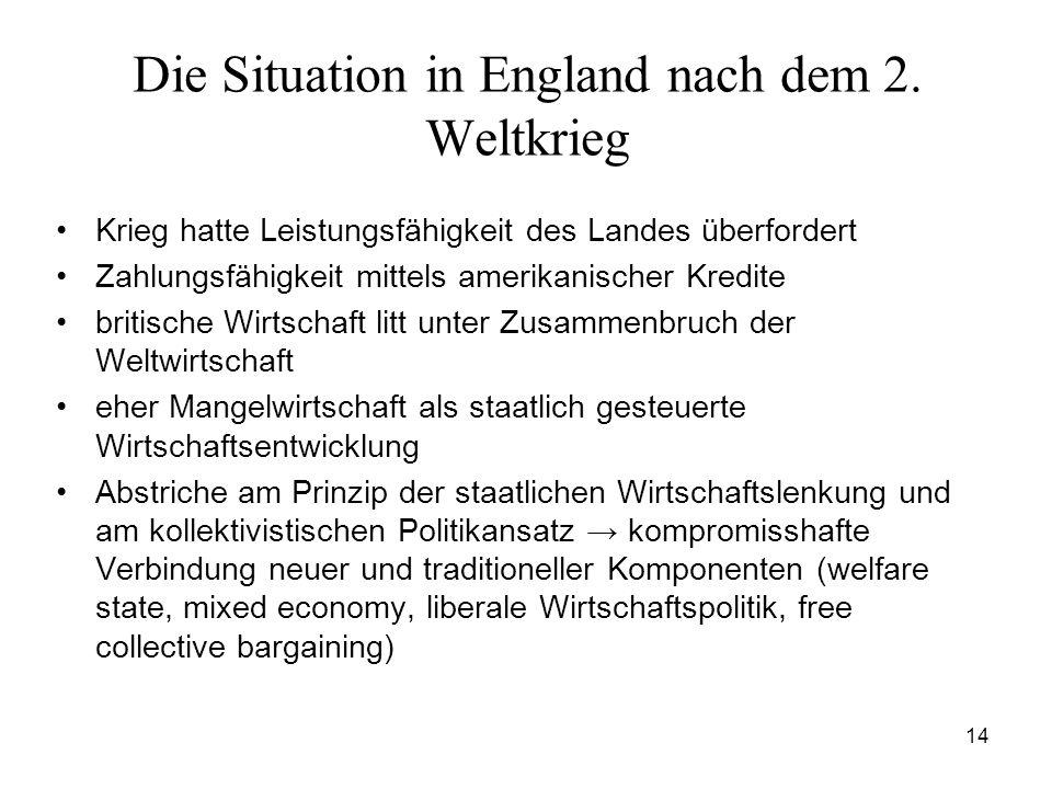 14 Die Situation in England nach dem 2. Weltkrieg Krieg hatte Leistungsfähigkeit des Landes überfordert Zahlungsfähigkeit mittels amerikanischer Kredi