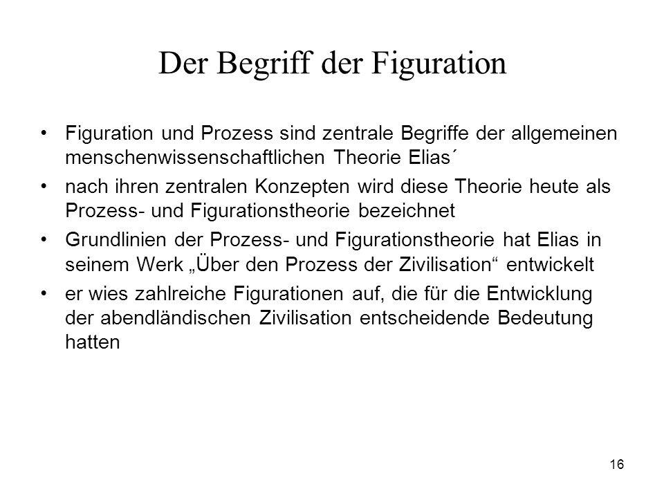 16 Der Begriff der Figuration Figuration und Prozess sind zentrale Begriffe der allgemeinen menschenwissenschaftlichen Theorie Elias´ nach ihren zentr
