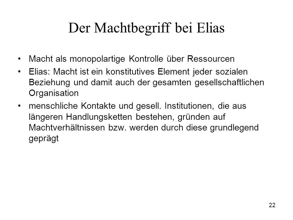 22 Der Machtbegriff bei Elias Macht als monopolartige Kontrolle über Ressourcen Elias: Macht ist ein konstitutives Element jeder sozialen Beziehung un