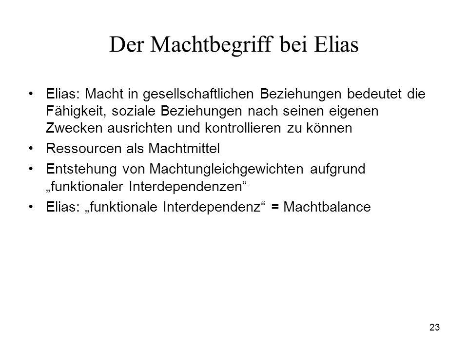 23 Der Machtbegriff bei Elias Elias: Macht in gesellschaftlichen Beziehungen bedeutet die Fähigkeit, soziale Beziehungen nach seinen eigenen Zwecken a
