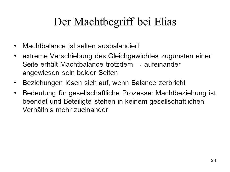 24 Der Machtbegriff bei Elias Machtbalance ist selten ausbalanciert extreme Verschiebung des Gleichgewichtes zugunsten einer Seite erhält Machtbalance