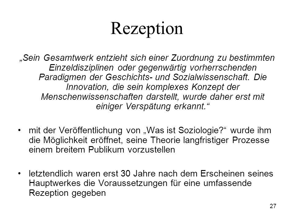 27 Rezeption Sein Gesamtwerk entzieht sich einer Zuordnung zu bestimmten Einzeldisziplinen oder gegenwärtig vorherrschenden Paradigmen der Geschichts-