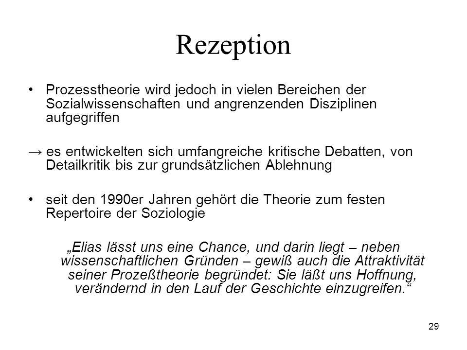 29 Rezeption Prozesstheorie wird jedoch in vielen Bereichen der Sozialwissenschaften und angrenzenden Disziplinen aufgegriffen es entwickelten sich um