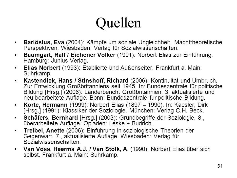 31 Quellen Barlösius, Eva (2004): Kämpfe um soziale Ungleichheit. Machttheoretische Perspektiven. Wiesbaden: Verlag für Sozialwissenschaften. Baumgart