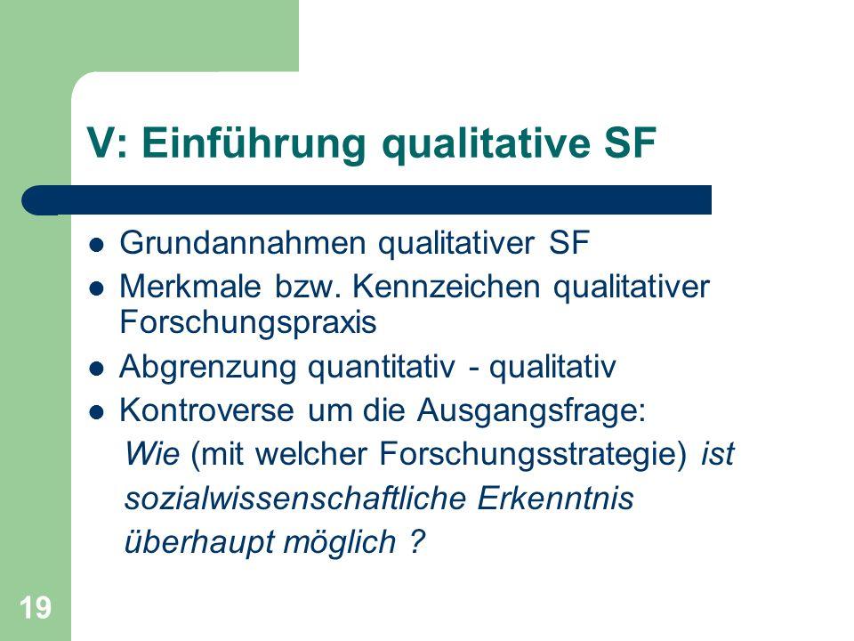 19 V: Einführung qualitative SF Grundannahmen qualitativer SF Merkmale bzw.