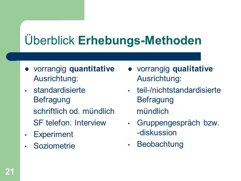 21 Überblick Erhebungs-Methoden vorrangig quantitative Ausrichtung: standardisierte Befragung schriftlich od.