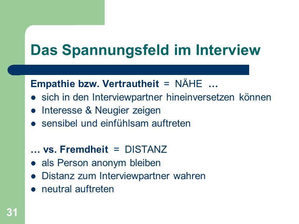 31 Das Spannungsfeld im Interview Empathie bzw.