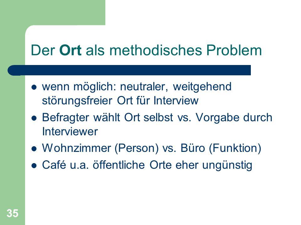 35 Der Ort als methodisches Problem wenn möglich: neutraler, weitgehend störungsfreier Ort für Interview Befragter wählt Ort selbst vs.