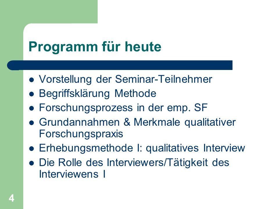 4 Programm für heute Vorstellung der Seminar-Teilnehmer Begriffsklärung Methode Forschungsprozess in der emp.