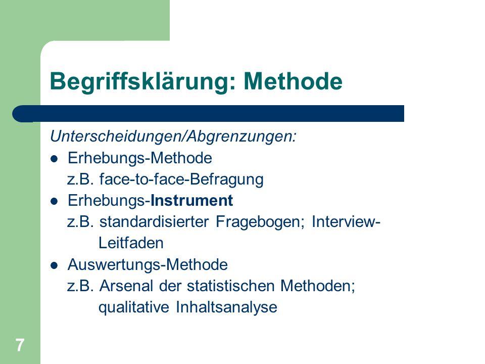 8 Definition Erhebungs-Methode Unter einer Erhebungs-Methode wird das im Rahmen einer Untersuchung gewählte und begründete Verfahren der empirischen Sozialforschung verstanden, das zur Erhebung von Daten eingesetzt wird.