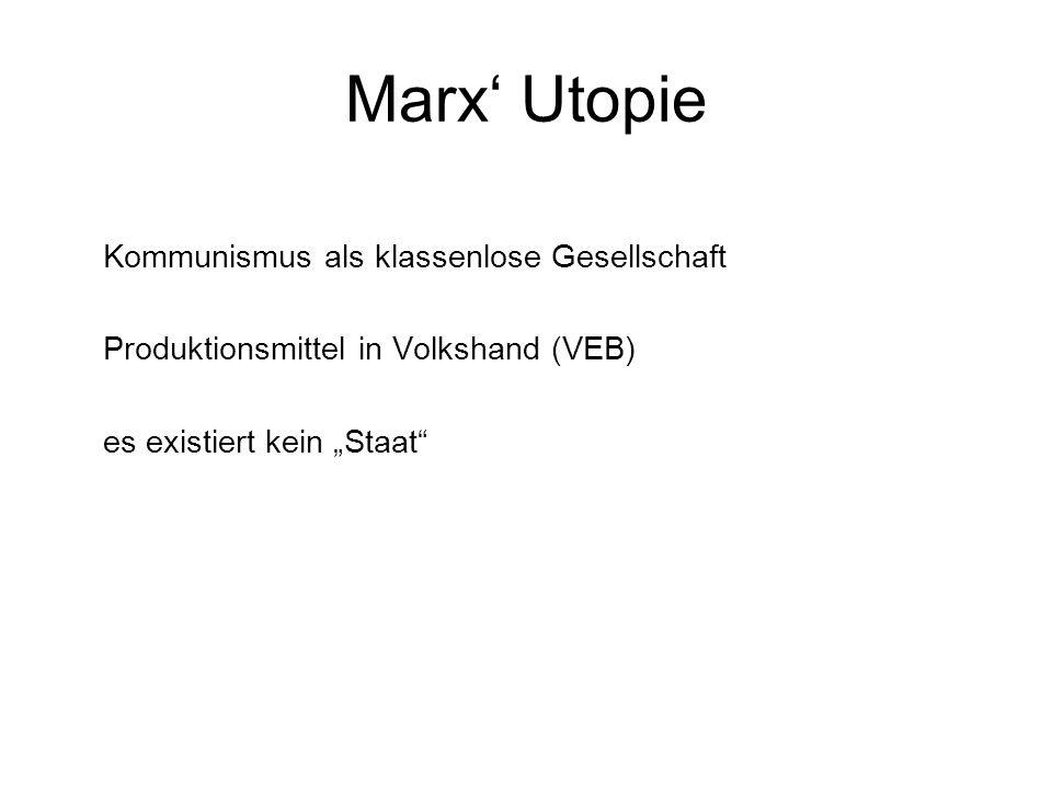 Marx Utopie Kommunismus als klassenlose Gesellschaft Produktionsmittel in Volkshand (VEB) es existiert kein Staat