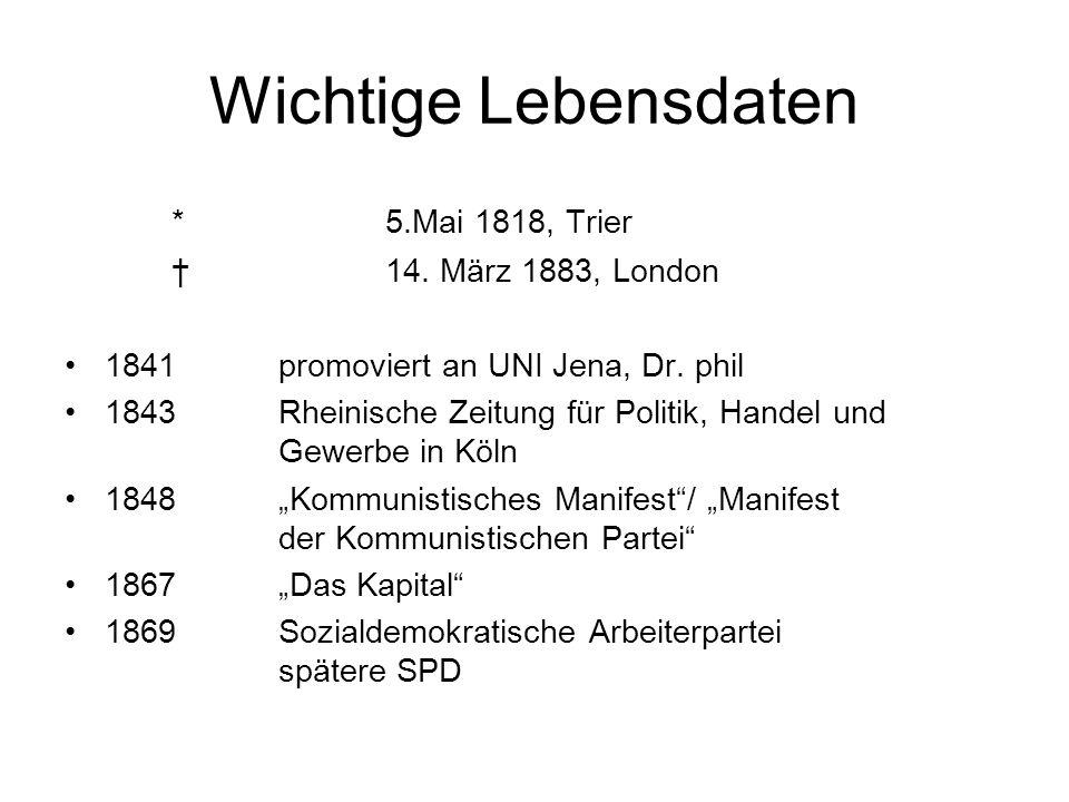 Wichtige Lebensdaten *5.Mai 1818, Trier 14. März 1883, London 1841 promoviert an UNI Jena, Dr. phil 1843 Rheinische Zeitung für Politik, Handel und Ge