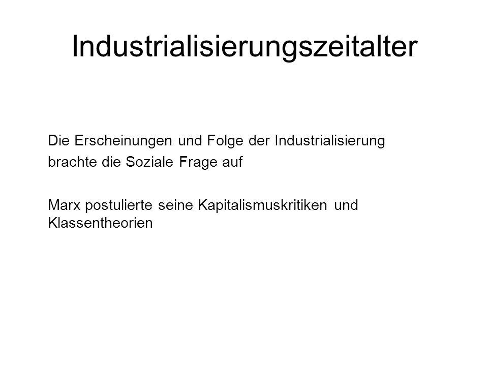 Industrialisierungszeitalter Die Erscheinungen und Folge der Industrialisierung brachte die Soziale Frage auf Marx postulierte seine Kapitalismuskriti