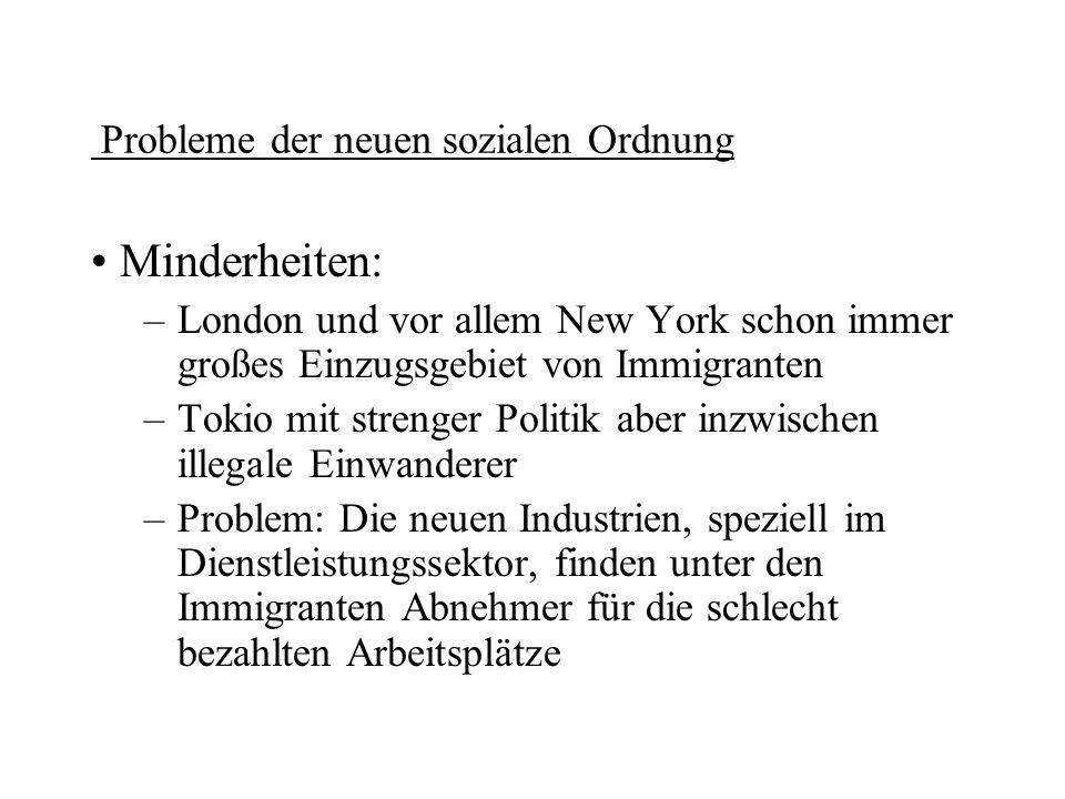 Probleme der neuen sozialen Ordnung Minderheiten: –London und vor allem New York schon immer großes Einzugsgebiet von Immigranten –Tokio mit strenger